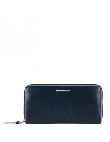 Portafoglio Piquadro donna a tre soffietti,chiuso da zip, con portamonete e porta carte di credito PD3229B2 - Mega 1941