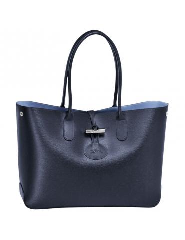 Borsa Longchamp Roseau Tote bag Blu