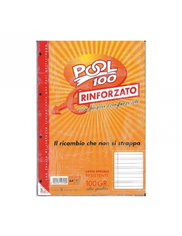 Ricambio Pool Fogli a Buchi Maxi Rinforzati Righe A 100 Gr. Cf.40