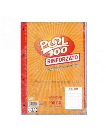 Ricambio Pool Fogli a Buchi Maxi Rinforzati Quadretti 1 Cm. 100 Gr. - 5 Confezioni da 40 Fogli