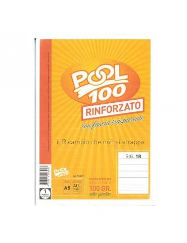 Ricambio Pool Fogli a Buchi Maxi Rinforzati Righe Senza Margine 100 Gr. - 5 Confezioni da 40 Fogli