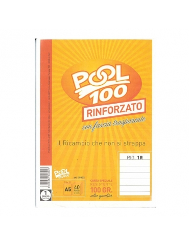 Ricambio Pool Fogli a Buchi Maxi Rinforzati Righe Senza Margine 100 Gr. Cf.40