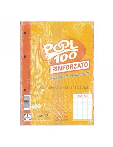 Ricambio Pool Fogli a Buchi A5 Rinforzati Quadretti 5mm 100 Gr. - 5 Confezioni da 40 Fogli