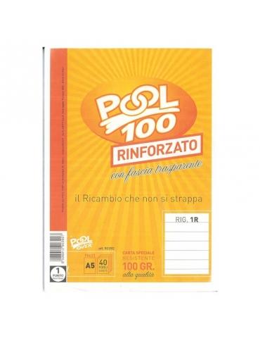 Ricambio Pool Fogli a Buchi A5 Rinforzati Righe Senza Margine 100 Gr. - 5 Confezioni da 40 Fogli