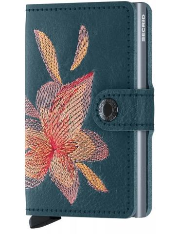 Portacarte Secrid Miniwallet Stitch Magnolia-Petrolio
