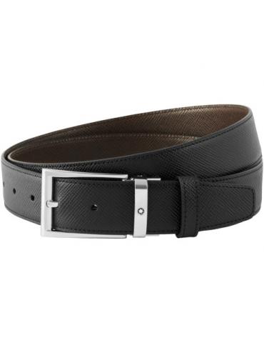 Cintura Montblanc Reversibile Cut-to-size Nera/Marrone Scuro