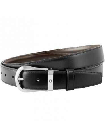 Cintura Montblanc Reversibile Nera/Marrone Fibbia Rettangolare
