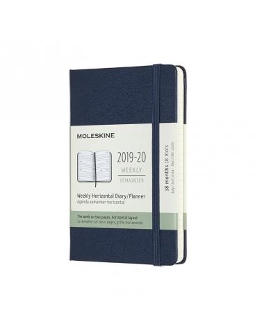Agenda Moleskine 2019-20 Settimanale 18 Mesi Orizzontale Pocket 9x14 - Copertina Rigida - Blu Zaffiro