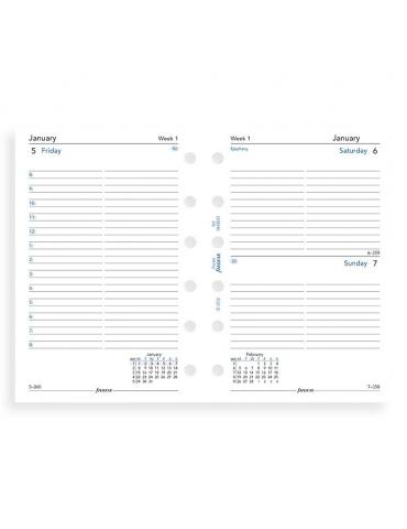 Ricambio Organizer Filofax 2020 Giornaliero - Formato Pocket - Inglese