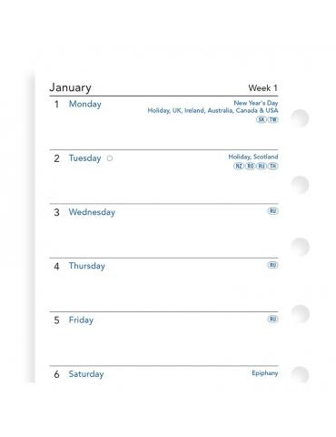 Ricambio Agenda Filofax 2020 Settimanale - Formato Pocket - Inglese
