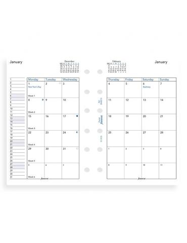 Ricambio Agenda Filofax 2020 Mensile - Formato Pocket - Inglese