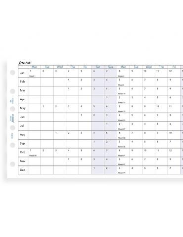 Ricambio Agenda Filofax 2020 Planner Annuale Orizzontale - Formato Pocket - Inglese