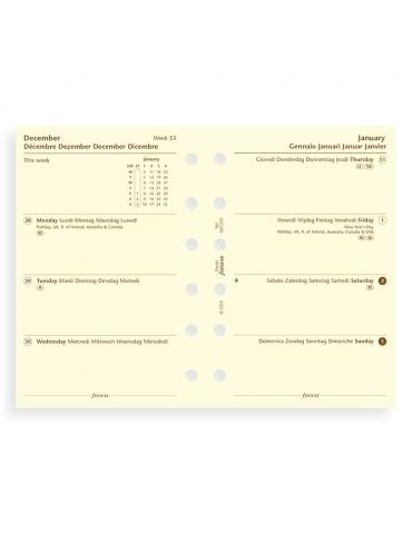 Ricambio Agenda Filofax 2020 Settimanale - Formato Pocket - Multilingua