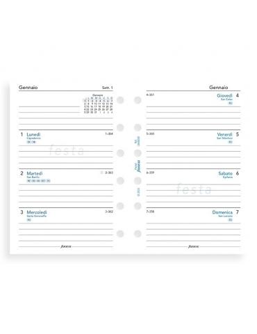 Ricambio Agenda Filofax 2020 Settimanale - Formato Pocket - Italiano