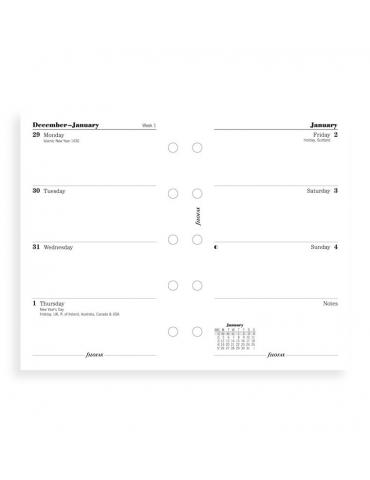 Ricambio Agenda Filofax 2020 Settimanale - Formato Mini - Inglese