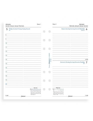 Ricambio Agenda Filofax 2020 Giornaliero - Formato Personal - Multilingua