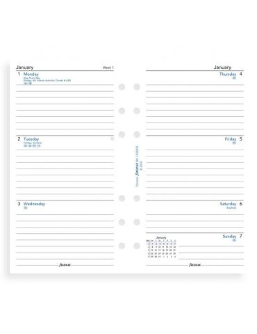 Ricambio Agenda Filofax 2020 Settimanale - Formato Personal - Inglese