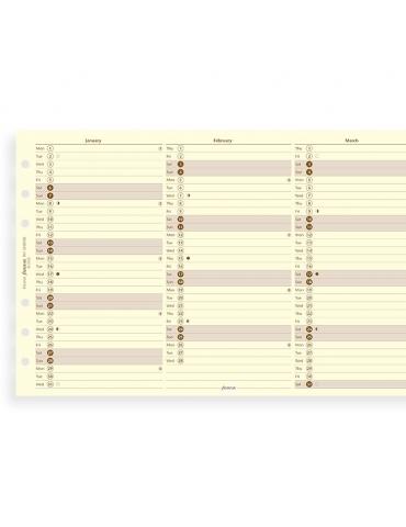 Ricambio Agenda Filofax 2020 Planner Annuale Verticale - Formato Personal - Inglese