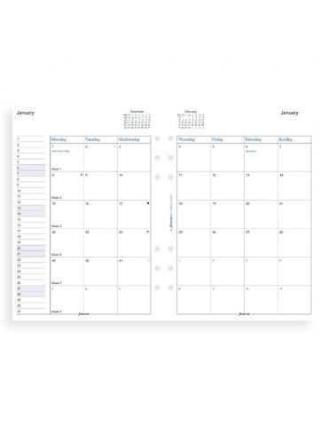 Ricambio Agenda Filofax 2020 Planner Mensile - Formato A5 - Inglese