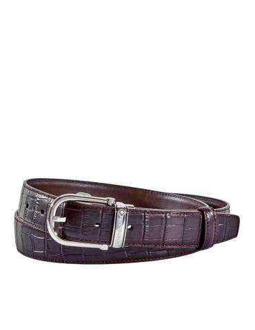 Cintura Montblanc in pelle di alligatore marrone 114391 - Mega 1941