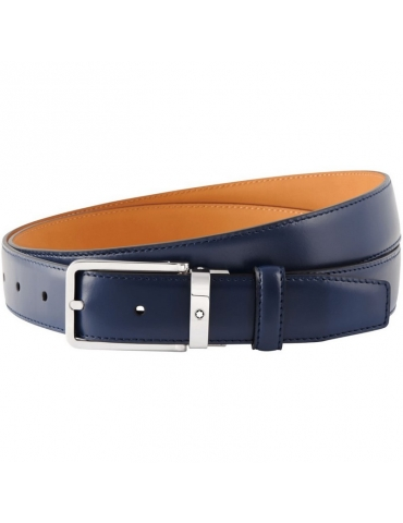 Cintura Montblanc Classic Line Blu Navy
