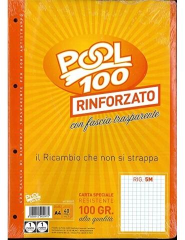 Ricambio Pool Fogli a Buchi Maxi Rinforzati 5 MM 100 Gr. Confezione 40 Fogli