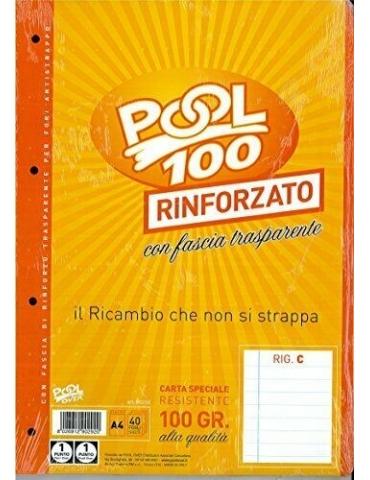 Ricambio Pool Fogli a Buchi Maxi Rinforzati Righe C 100 Gr. Cf.40