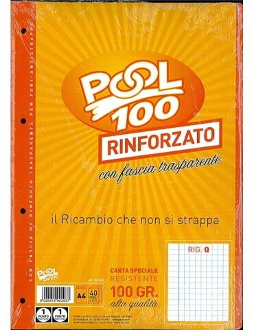 Ricambio Pool Fogli a Buchi Maxi Rinforzati Quadretti Q con Margine 100 Gr. 5 Confezioni da 40 Fogli