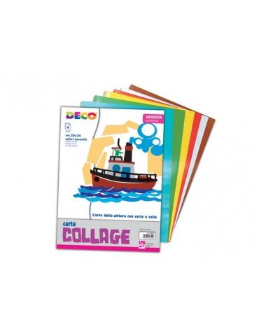 Album Carta Collage Deco 6 Fogli Adesivi Colori Ass.ti 24x34 cm