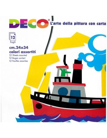 Album Carta Collage Deco 12 Fogli Colori Ass.ti 24x34 cm