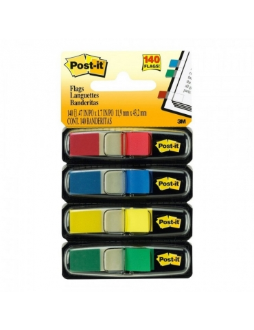 Segnapagina Post-It 3M 4 Colori 11x43