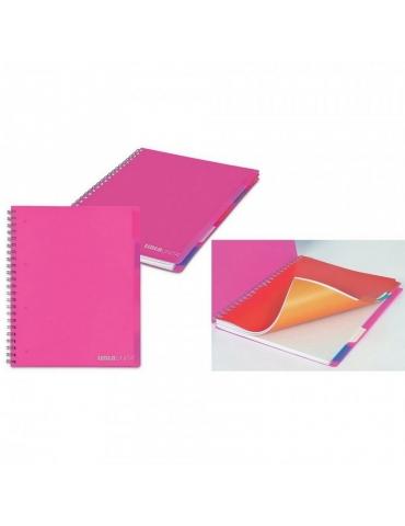 Quaderno Maxi Spiralato Tinta Unita in PPL con Fori + Divisori Colorati Righe 1R A4