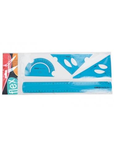 Set Flex Tinta Unita Righello + Squadre + Goniometro - Colori Assortiti