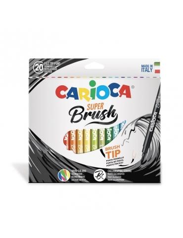 Pennarelli Colorati Carioca Super Brush Confezione 20 Colori