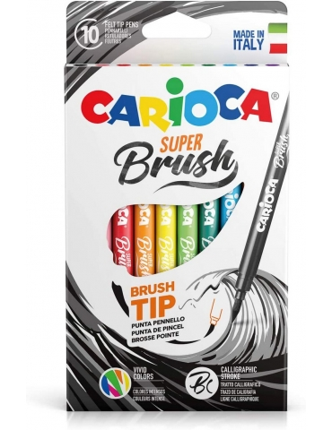 Pennarelli Colorati Carioca Super Brush Confezione 10 Colori