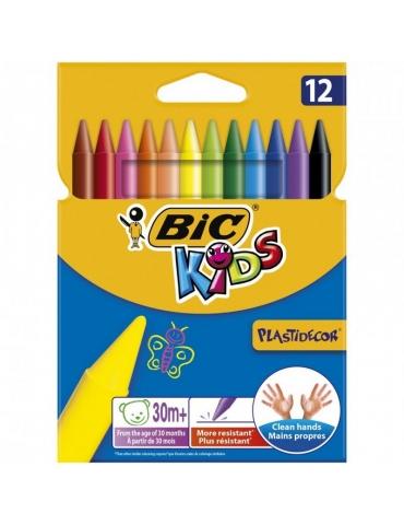Pastelli Colorati Bic Kids Plastidecor Confezione 12 Colori