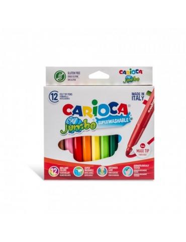 Pennarelli Colorati Carioca Jumbo Lavabili Confezione 12 Colori