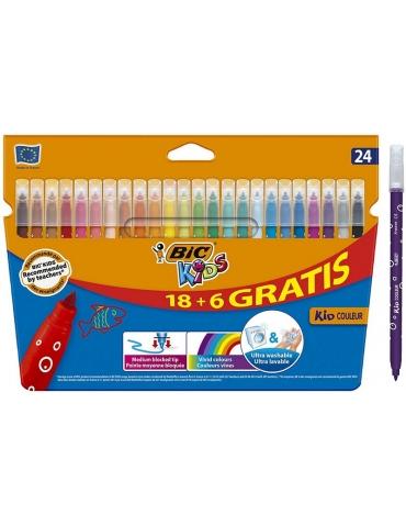 Pennarelli Bic Kids Lavabili Confezione 24 Colori
