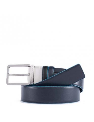 Cintura Piquadro Uomo Doubleface con Fibbia ad Ardiglione Nero/Mogano