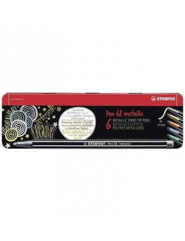 Pennarello Stabilo Pen 68 Metallic Confezione 6 Colori