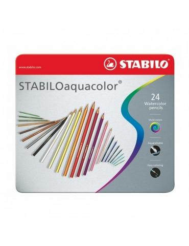 Matite Colorate Stabilo Aquacolor Confezione in Metallo 24 Colori