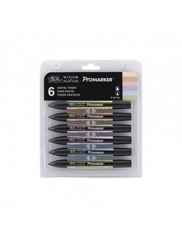 Promarker Winsor & Newton 2 Punte Pastel Tones Set 6 Colori