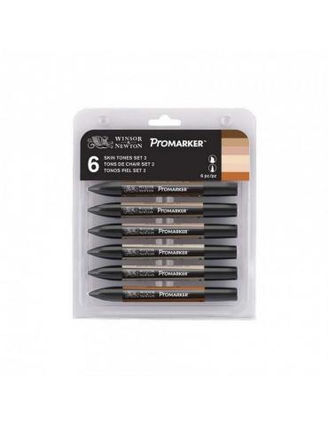 Promarker Winsor & Newton 2 Punte Skin Tones Set 6 Colori