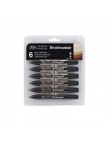 Brushmarker 2 Punte Winsor & Newton Skin Tones Set 6 Colori