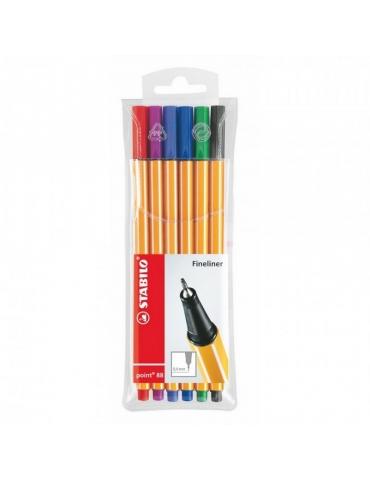 Fineliner Stabilo Point 88 Confezione 6 Colori