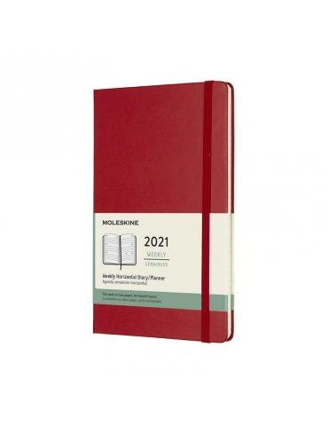 Agenda Moleskine 2020 Settimanale 12 Mesi Orizzontale Large 13x21 - Copertina Rigida - Rosso