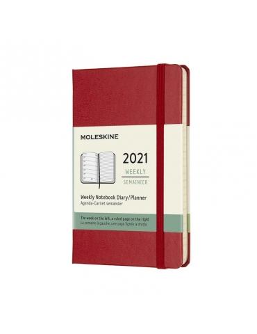 Agenda Moleskine 2021 Settimanale 12 Mesi Notebook Pocket 9x14 - Copertina Rigida - Rosso