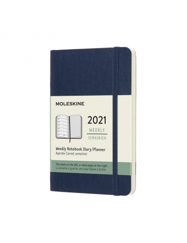 Agenda Moleskine 2020 Settimanale 12 Mesi Notebook Pocket 9x14 - Copertina Morbida - Blu Zaffiro