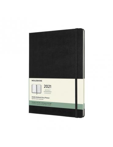 Agenda Moleskine 2021 Settimanale 12 Mesi Notebook XL 19x25 - Copertina Rigida - Nero