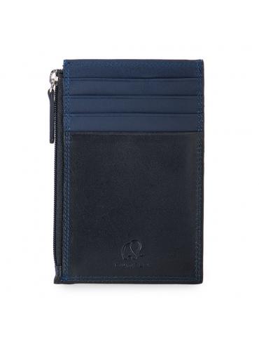 Porta carte di credito con portamonete MyWalit e tecnologia RFID Nero-Blu